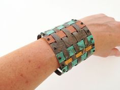 Unique weaving paper bracelet, water resistant, one of a kind, OOAK,. $79.00, via Etsy.
