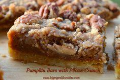 Big Rigs 'n Lil' Cookies: Pumpkin Bars with Pecan Crunch Best Pecan Pie Recipe, Pecan Recipes, Pumpkin Recipes, Sweets Recipes, Yummy Recipes, Cake Recipes, Recipies, Easy Dessert Bars, Easy Desserts
