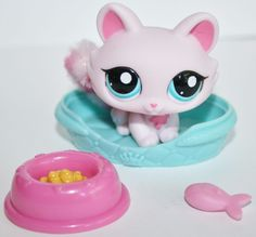 Littlest Pet Shop #2619 Pink Cat Blue Eyes Fuzzy Furry Tail LPS Accessories #Hasbro