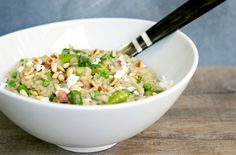 Asparagus, Pea and Pancetta Brown Rice Risotto    Sinful (Tasting!) Whole-Grain Risotto Recipes