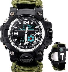 Men Watch Sport Watch Survival Watch with Paracord/Whistle/Fire Starter/Scraper/Compass and Thermometer 6 in 1#survivalwatchesformen #survivalwatchesswissarmy #survivaltoolswatches #survivalwatches
