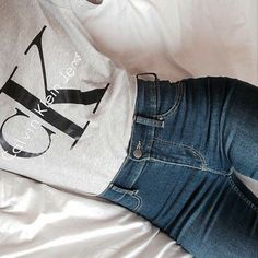 Shop Calvin Klein Jeans logo print T-shirt. Ck Jeans, High Jeans, Calvin Klein Outfits, Calvin Klein Jeans, Calvin Klein Women, Casual Outfits, Cute Outfits, Fashion Outfits, Womens Fashion