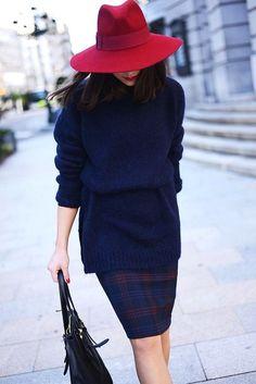Plaid Pencil Skirt & Burgundy fedora.