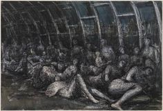 Henry Moore's war time underground sketches. Beautiful mixed media work in all sorts of media: wax resist, ink, charcoal, chalk etc