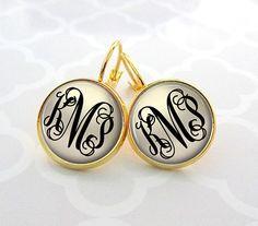 Classic Monogram Earrings Bridesmaid Gift by PishPoshPendants