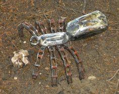 Spider Metal Sculpture Arachnid Metal Spider Garden Art Yard Art Found Objects. $68.95, via Etsy.