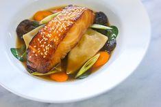 Miso Glazed Black Cod Recipe with Sake Marinade, easy homemade shrimp dumplings and roasted shiitake mushrooms from Nordstrom.