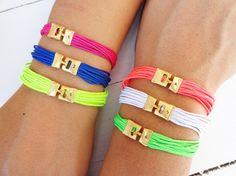 Colorful neon friendship bracelets