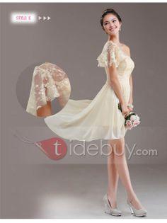 Simple A-Line Lace One Shoulder Lace Up Asymmetry Bridesmaid dress : Tidebuy.com