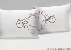 """""""Love has no distance, I'd heard them say But until we met, I didn't know it was true. Miles mean nothing now because I love you."""" Fall asleep with these cute couple pillowcases after a loving goodnight phone call from your sweetheart. BOLDLOFT® """"Love Has No Distance"""" His and Hers Couple Pillowcases. $32.99 via BoldLoft.  #boldloft #longdistancerelationship #lovepillowcases #lovegifts"""