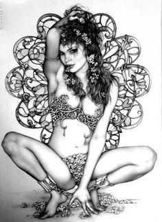 Lápices a project by Arantza Sestayo. Domestika is the largest community for creative professionals. Portraits, Portrait Art, Karla Ortiz, Pencil Drawing Images, Fantasy Art Women, Warrior Girl, Spanish Artists, Illustrations, Fuchsia