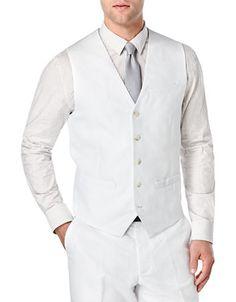 La Baie | Men | Suits & Tuxedos | Solid Linen-Cotton Vest Waistcoat | Hudson's Bay