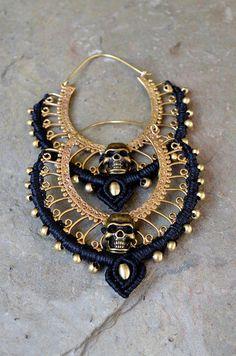 Big hoop brass earrings brass skull brass earrings big