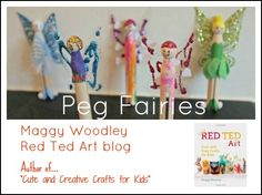 making simple peg fairies with Red Ted Art Preschool Arts And Crafts, Craft Activities For Kids, Crafts For Kids, Teach Preschool, Preschool Ideas, Craft Ideas, Creative Crafts, Easy Crafts, Kids Mania