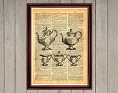 Teapot tea British teatime set print Rustic kitchen dining room cafe decor Cabin Vintage Retro poster Dictionary page Home interior 0014