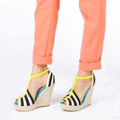 fun shoes! black stripes with a touch of neon