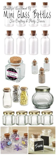 Where to buy mini glass bottles and jars for making party favors and table decorations for a wedding, baby shower, birthday, anniversary or graduation party. There are also tiny mini glass bottles for making miniature art and jewelry. | Glitter 'N' Spice