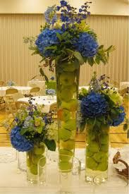 blue and green wedding center pieces