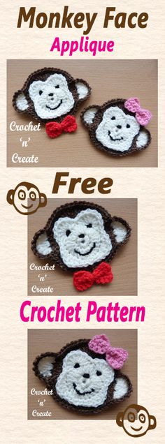 Free crochet pattern for monkey face appliqué. Sweet smiley and cheeky monkey face appliqué, monkeys are such lovable creatures and I'm sure everyone will love a gift adorned with this one. Crochet Applique Patterns Free, Crochet Motifs, Crochet Flower Patterns, Crochet Appliques, Crochet Ideas, Crochet Gratis, Crochet Amigurumi, Crochet Simple, Cute Crochet