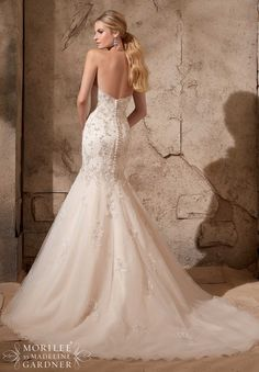 Bridal Gowns / Dresses Style 2720: Crystal Beaded Embroidery onto Alencon Lace and Tulle http://www.morilee.com/bridals/bridal/2720