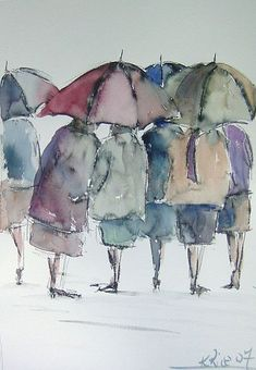 Two things I Love umbrellas and watercolor art. Watercolor Pictures, Watercolor Portraits, Watercolour Painting, Painting & Drawing, Watercolours, Painting People, Figure Painting, Portfolio D'art, Umbrella Art