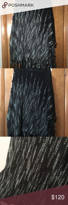 Lularoe Black Mimi Brand new with tags!! Lularoe Mimi shawl.   Black background with grey and blue grey. Super gorgeous and comfy!!  Hard to find. HTF. Mimi. Lularoe. Black. Grey. LuLaRoe Sweaters Shrugs & Ponchos