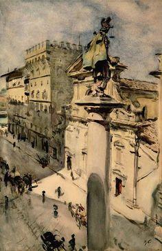 Valentin Serov (1865 — 1911, Russia) in Florence. 1904 watercolour on paper. 50.6 × 33.7 cm.