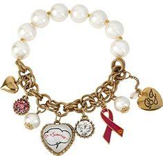 Betsey Johnson I'm a Survivor Heart Multi Charm Half Stretch Bracelet