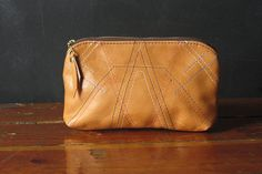 8inch Embroidered Eco Leather Zipper Pouch.  ooak. via Etsy.