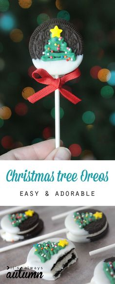 Easy and adorable Christmas tree Oreo pops. Fun food craft to make with the kids! Would be a cute Christmas gift or a fun recipe for a class party.