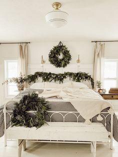 Cozy Cottage Christmas Bedroom Christmas Bedroom Decor Home Cottage Christmas, Christmas Bedroom, Christmas Decor, Holiday Decor, Christmas Interiors, Christmas Greenery, Cozy Christmas, Christmas 2019, White Christmas