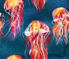 Colorful fabrics digitally printed by Spoonflower - lion's mane jellyfish of ocean lion's mane jellyfish of ocean fabric by on Spoonflower - custom fabric Lion's Mane Jellyfish, Jellyfish Drawing, Jellyfish Painting, Ocean Wallpaper, Fabric Wallpaper, Dog Lion Mane, Ocean Fabric, A Level Art, Watercolor Design