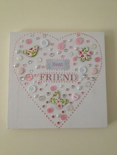 'Best Friend' Button Art Wall Canvas - The Supermums Craft Fair