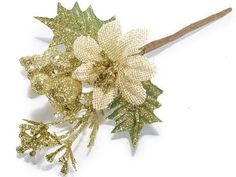 Christmas Bouquets Gold Glittered Poinsettia 12 by lallehandmade