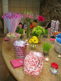 "Great idea for a shower or a ""Sweet"" 16! Candy Display by Sugar Rush! lalascookiejar.com"