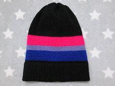 Knit Pride Hat  Bi Pride  Slouchy Beanie  Black & Vivid