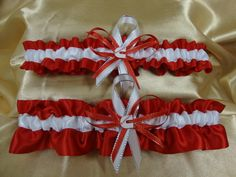 White Satin And Red Wedding Garter Set With Cummins By StarBridal 2995