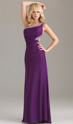 Purple Open Back Sequin Trim One Shoulder Prom Dress
