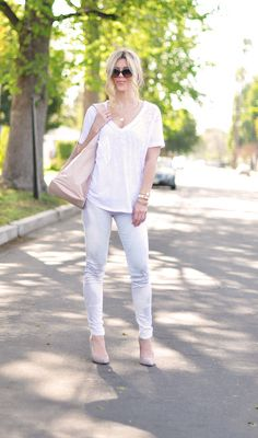 Jeans & a White T Outfit No. 9  ~ white washed, burnt out & feathered