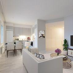 Vaaleat kalusteet lisäävät yhdistetyn olohuone-keittiön tilantuntua. Piristystä vaaleaan sisutukseen saa kukilla ja viherkasveilla. Ps. kuva on digistailattu helpottamaan sisutuksen suunnittelua ja tilan hahmotusta. Bathroom