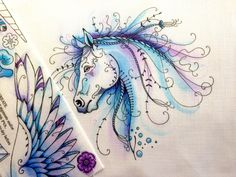 Unicorn embroidery patter, #love fabric painting