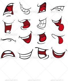 Set of Mouths Cartoon by liusa You can use for illustration, for computer games zip file contains: editable vector file, RGB JPEG, size RGB PSD Mouth Cartoon, Cartoon Mouths, Cartoon Eyes, Cartoon Makeup, Cartoon Faces Expressions, Drawing Cartoon Faces, Cartoon Art, Graffiti Lettering, Graffiti Art