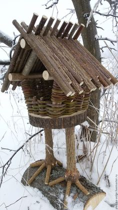 Basketry and wood bird feeder