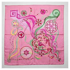 Hermes La Danse Du Cosmos Silk Scarf ($397) ❤ liked on Polyvore featuring accessories, scarves, hermès, silk scarves, multi colored scarves, colorful shawl and pink scarves