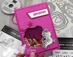 Nicole Wilson Independent Stampin' Up!® Demonstrator - Shaker Card was the theme this week for Daring Cardmakers Challenge. This cute zebra card was made for my sons friends birthday. #stampinup #zanyzebras #zebra #shakercard #daringcardmakers #magentamadness #girlbirthday #cutebirthday #rainbow #sparklecard #nicolewilson #hippoandfriends #ornatefloral #rainbowglimmer