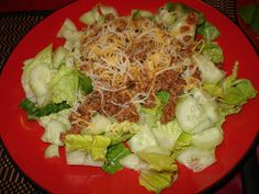 Taco Salad with ground turkey and lean ground beef on a bed of lettuce & cucumbers.    Believing it\'s Possible is half the battle / Take Shape For Life Weight Loss & Maintenance: Week 16!!