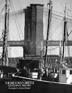 NY Brooklyn Bridge Seaport Vintage Poster by Andreas Feininger BW photograph