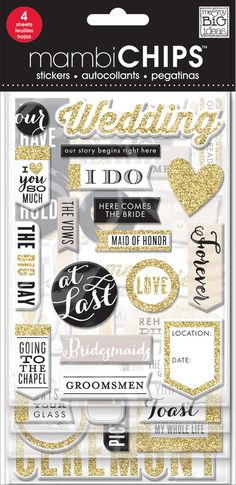 Self-adhesive, glitter chipboard stickers are easy to use and the perfect addition to any page, card or papercrafting project! This package has 4 sheets and is treated with gold glitter. Item #: CBVX-