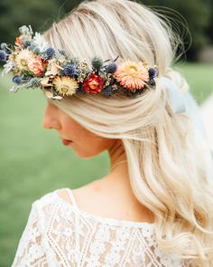 Wedding Hair Bridal Hair Bride Bridal Flower Crown Half Up Half Down Headdress Autumn Festival Wedding Ideas Indigo and Violet Photography Flower Crown Bride, Flower Crown Hairstyle, Flower Crown Headband, Bride Flowers, Flower Headpiece, Crown Hairstyles, Bride Hairstyles, Flower Crowns, Headdress