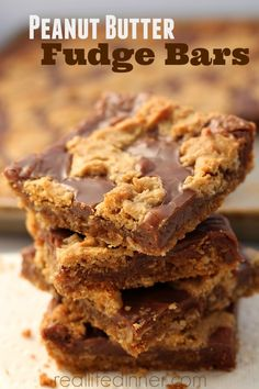 Recipe for Chocolate Fudge filled Peanut Butter Bars that are unbelievably delicious!!! ~ http://reallifedinner.com